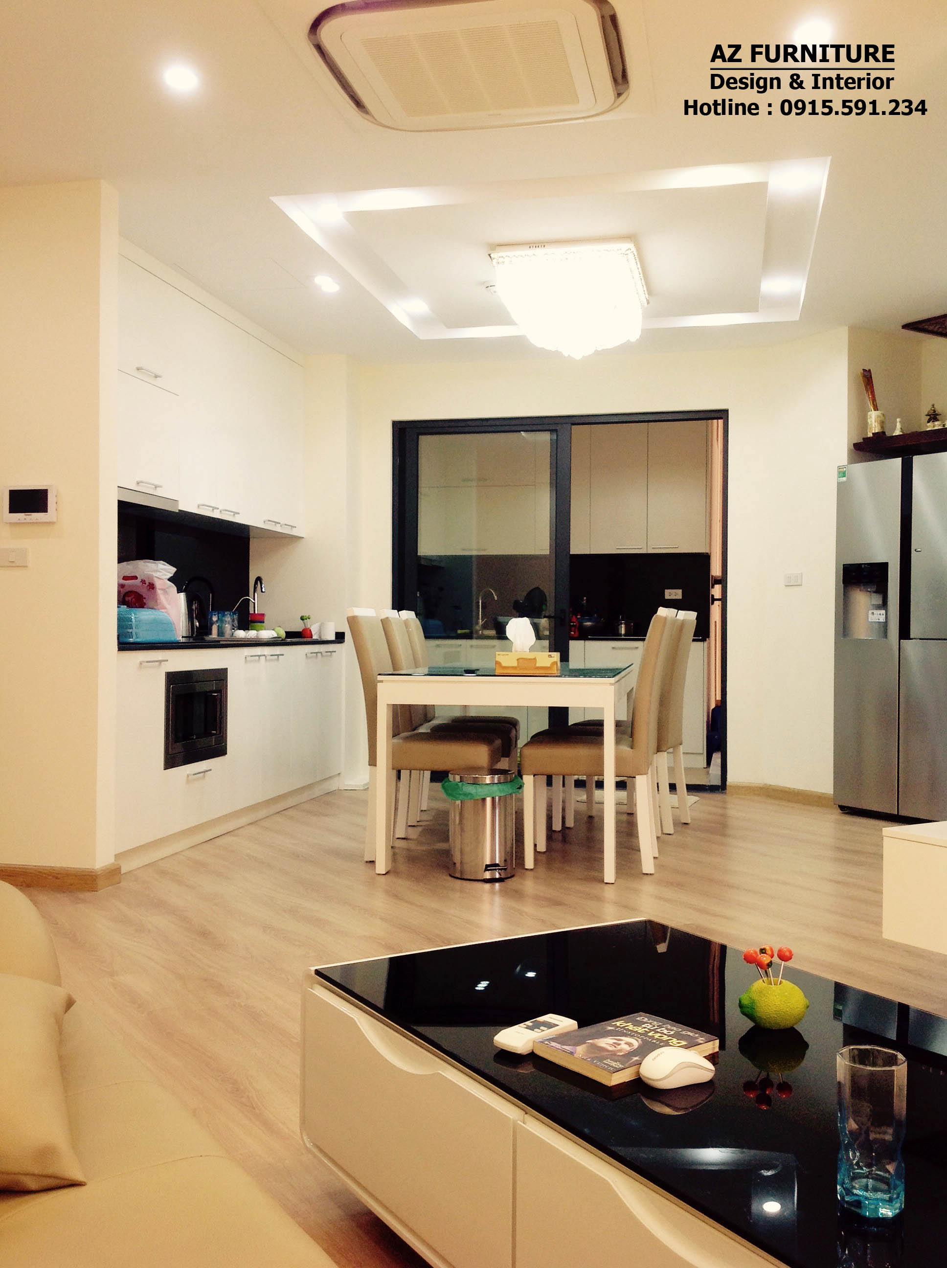 Nội thất phòng bếp nhìn từ phòng khách