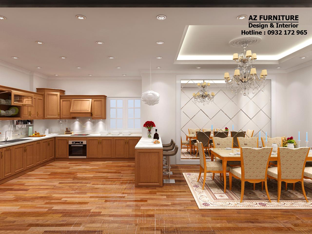thiết kế nội thất phòng ăn, phòng bếp chung cư