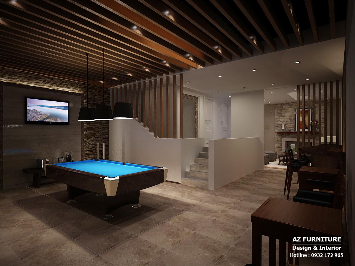 phòng giải trí, thiết kế nội thất biệt thự