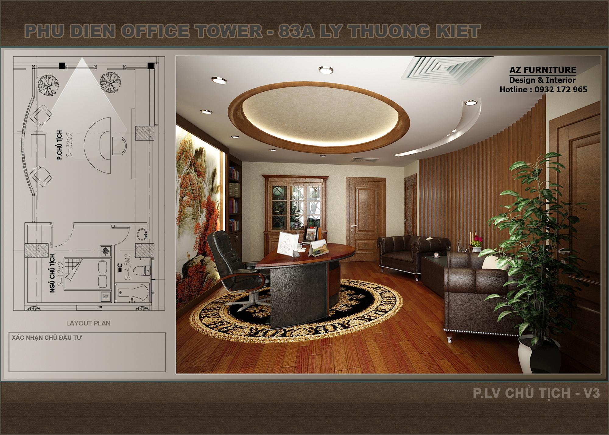 Thiết kế phòng làm việc công ty Phú Điền