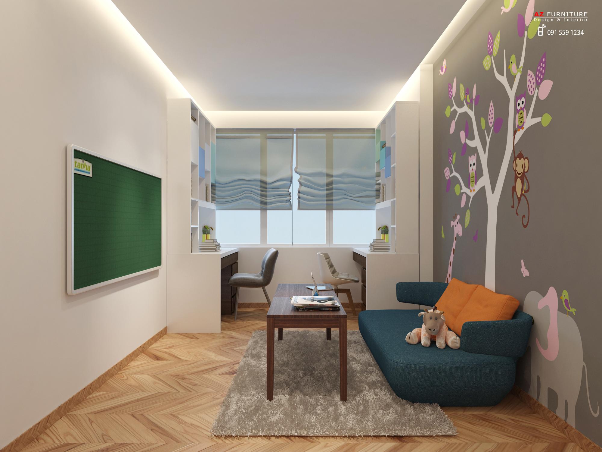 Thiết kế phòng học, phòng đọc sách chung cư đẹp