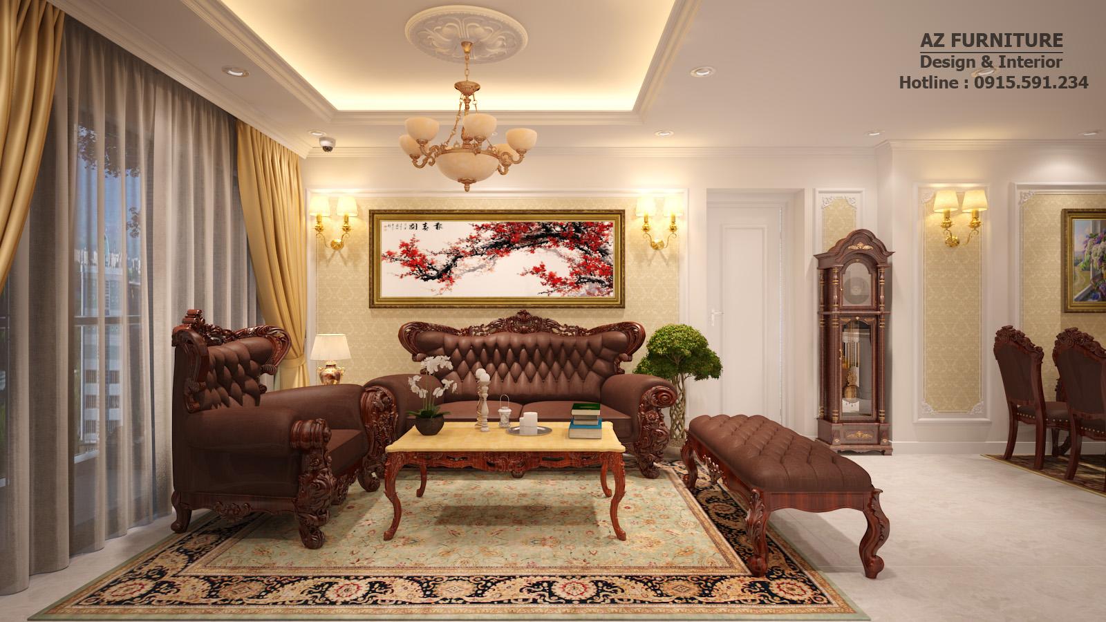 Thiết kế nội thất phòng khách tân cổ điển - Hottline: 091 559 1234