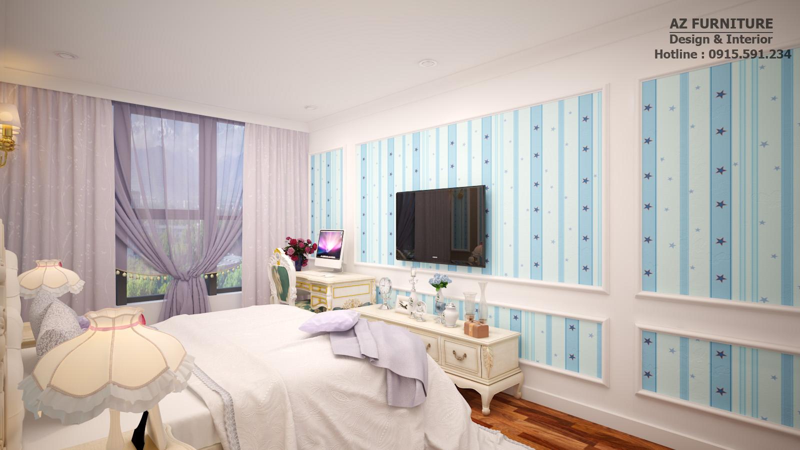 Thiết kế, thi công phòng ngủ trẻ em tân cổ điển