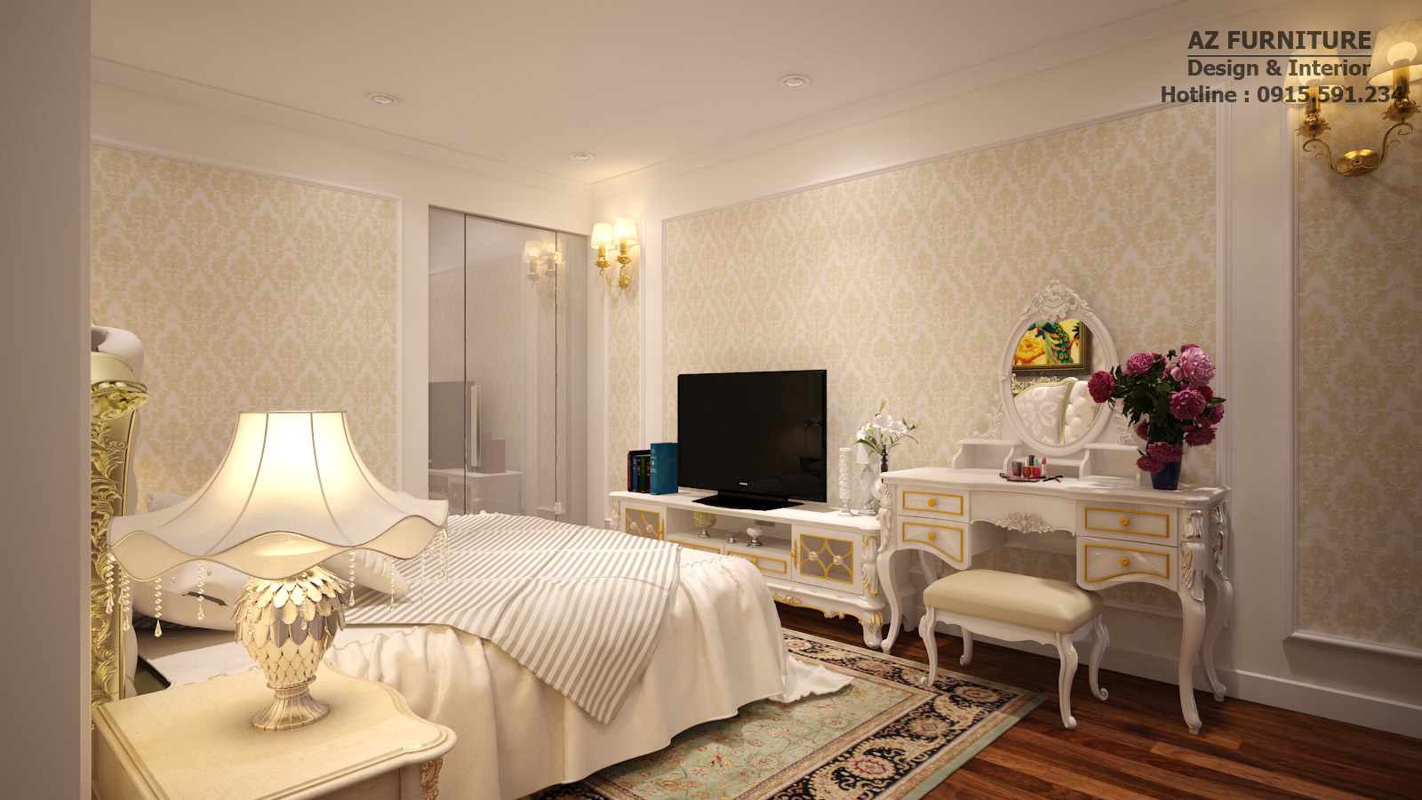 Thiết kế phòng ngủ tân đổ điển sang trọng, tinh tế