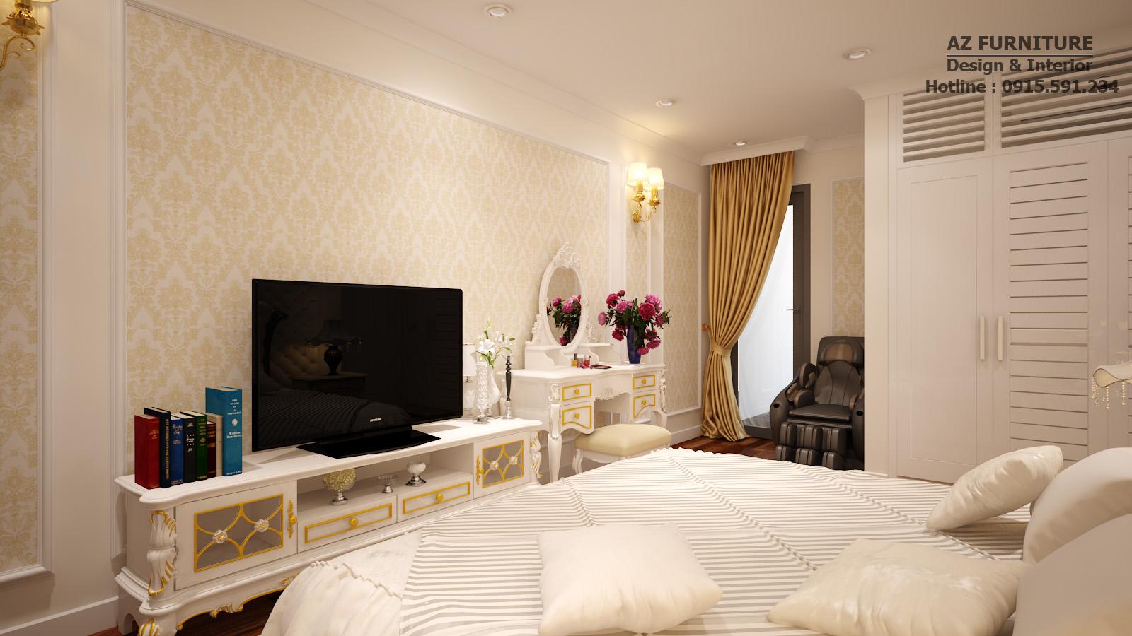Thiết kế, thi công nội thất phòng ngủ Master Tân Cổ Điển