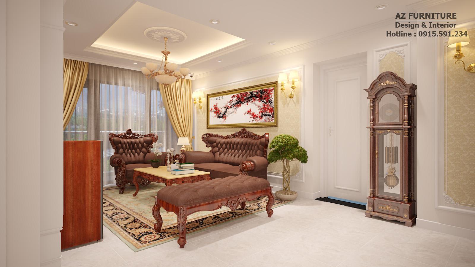 Phòng khách tân cổ điển chung cư Thăng Long Number One