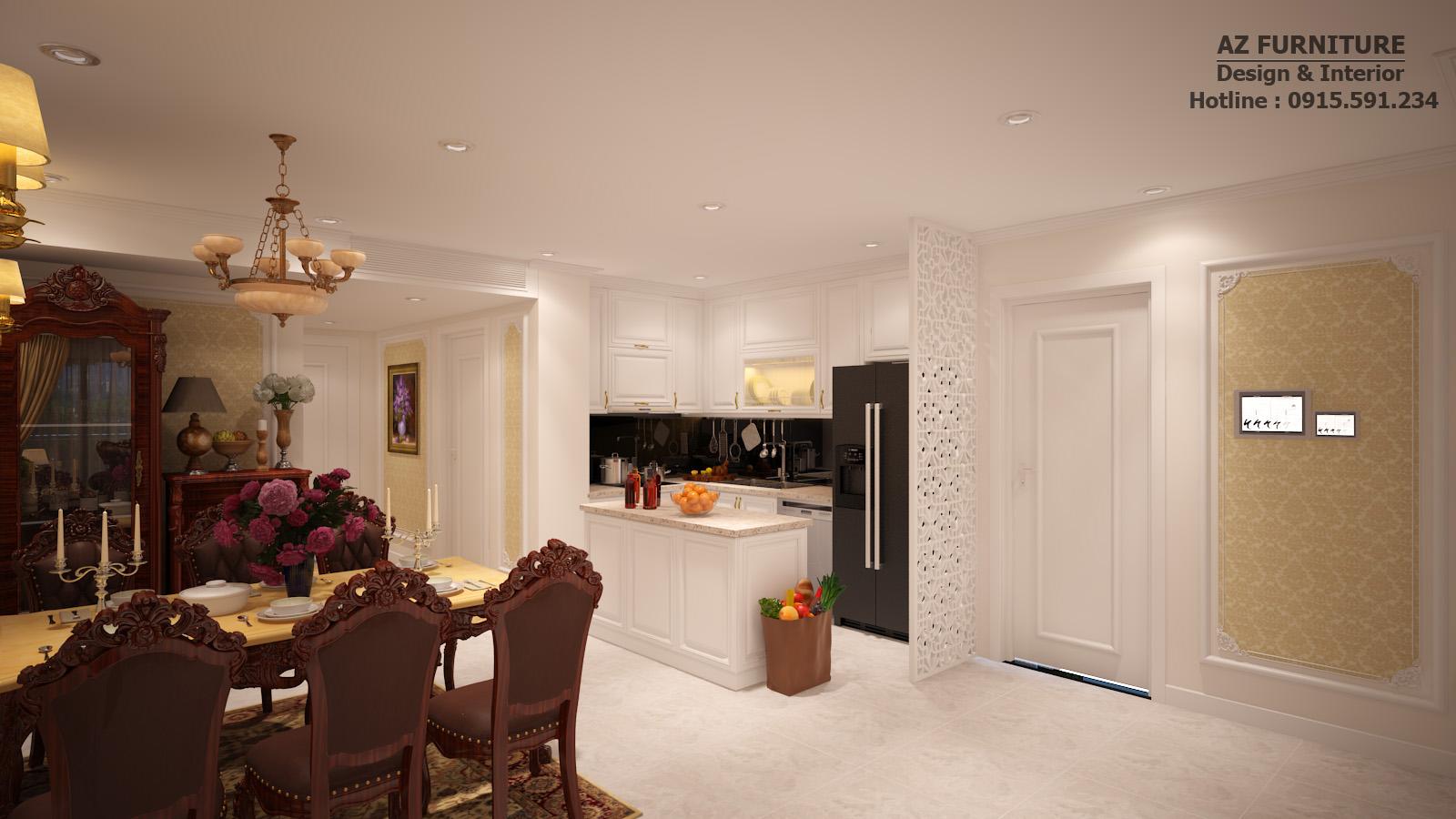 Thiết kế, thi công nội thất phòng ăn tân cổ điển