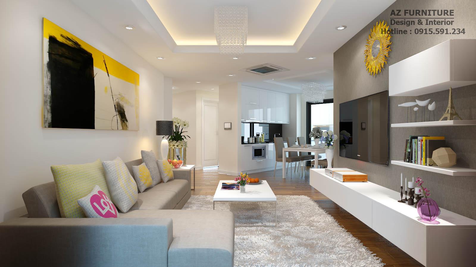 Phòng khách thanh lịch với gam trắng chủ đạo kết hợp bộ sofa hiện đại cùng tone màu tạo không gian sang trọng hiện đại cho phòng khách anh Thuật.