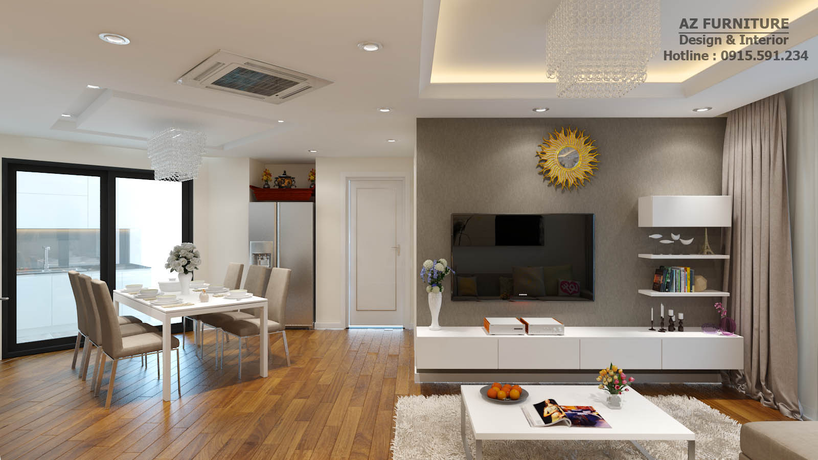 """Phòng khách nối tiếp với phòng bếp hoặc được thiết kế """"2 trong 1"""""""