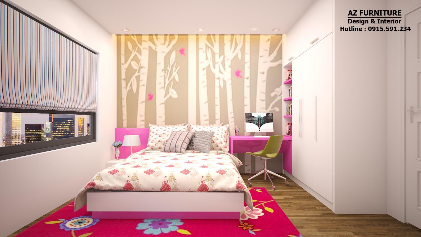 Thiết kế nội thất phòng ngủ bé gái chung cư tây hà 09