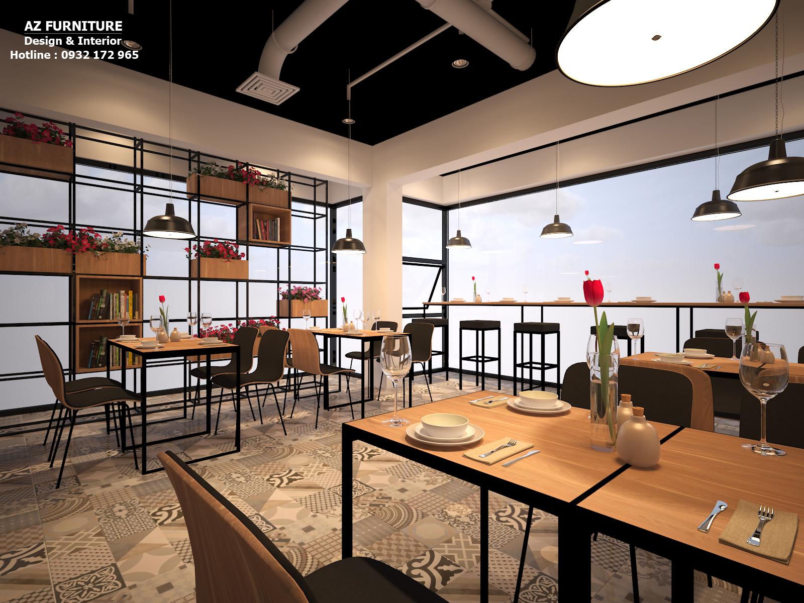 Nội thất bên trong nhà hàng, quán cafe sang trọng