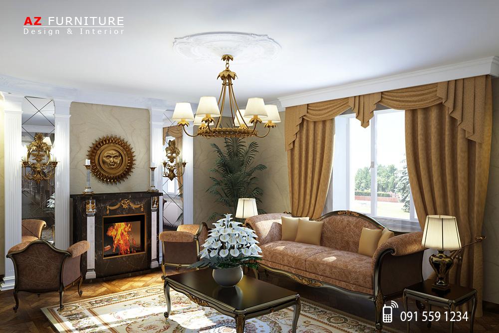 Thiết kế phòng khách Tân cổ điển - Hotline: 091 559 1234